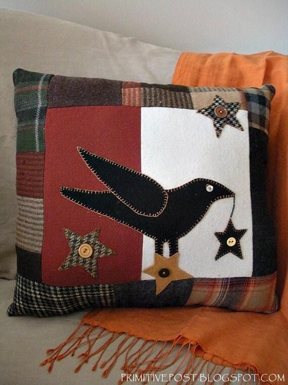 Decorative Primitive Pillows : Decorative Crow Pillow Primitive Autumn Decor Wool