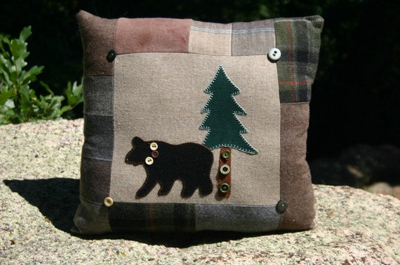 Bear Pillow Cabin Wool Upcycled Lodge Decor Cabin Throw Pillow Eco-friendly Bear Pine Tree by Northernlodge on Etsy