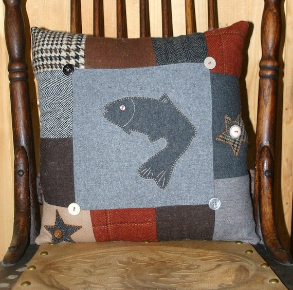 Wool Fish Pillow Cabin Accent Upcycled Wool Appliqued Lodge Decor by Northernlodge