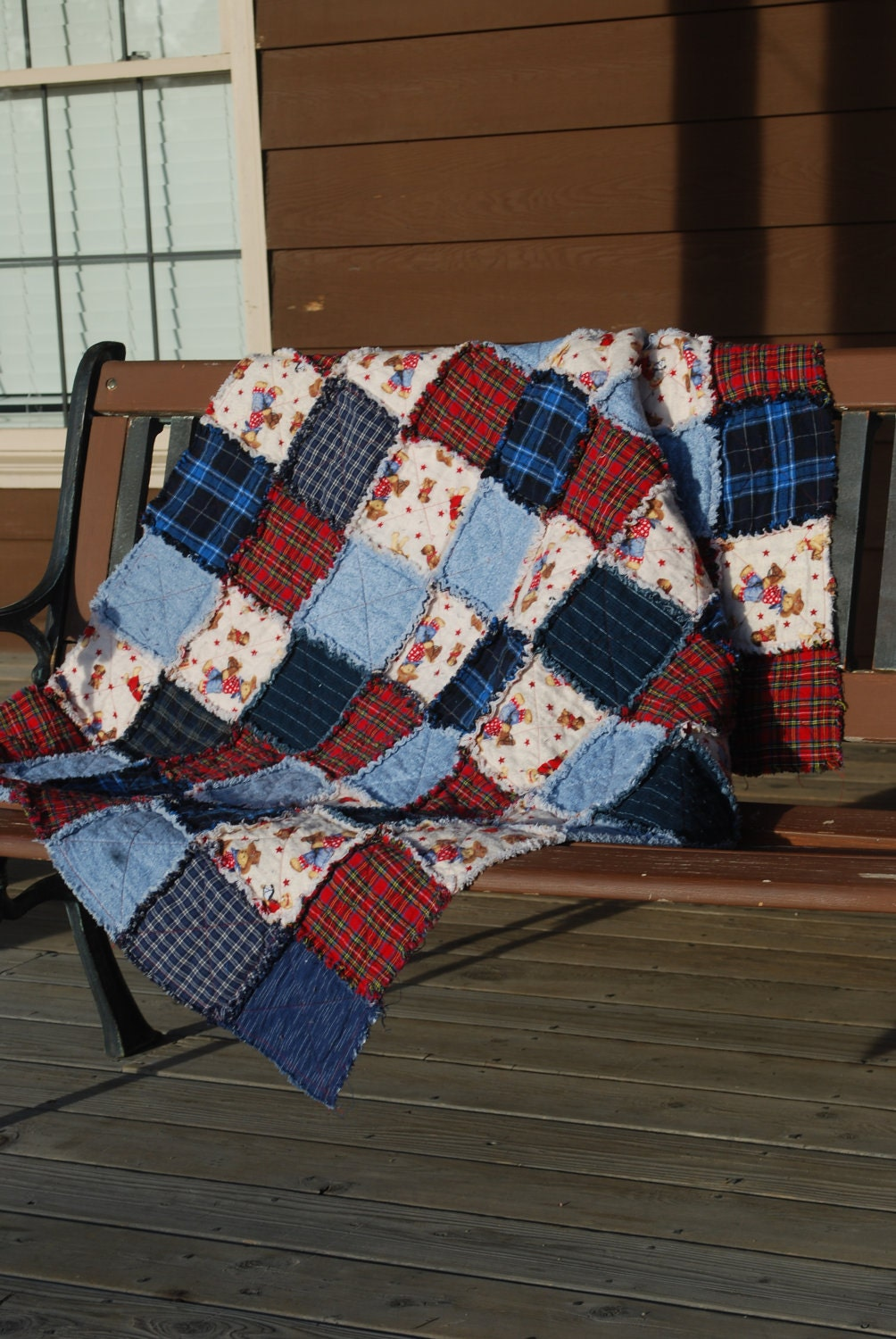 Flannel Rag Quilt Cowboy Motif Red Blue Plaid Denim Teddy Bear