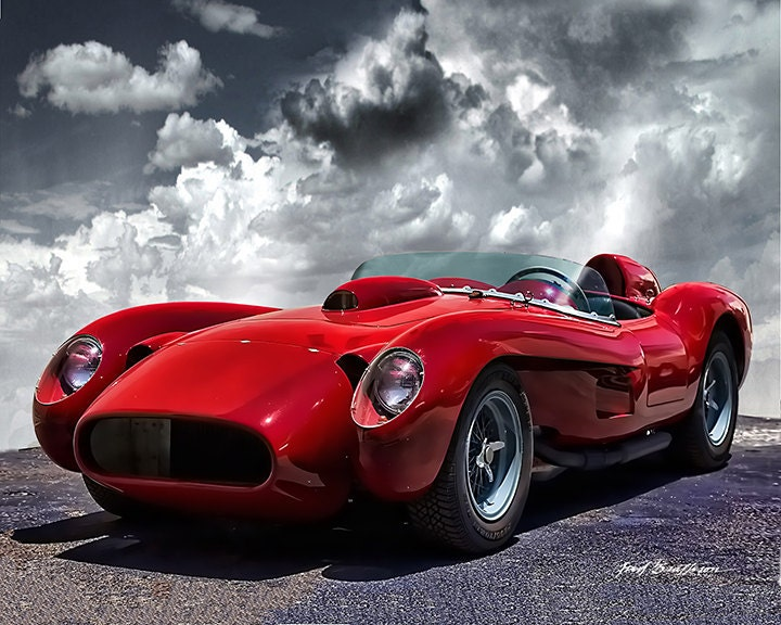 classic car print 1957 ferrari 250 testa rossa sports car. Black Bedroom Furniture Sets. Home Design Ideas