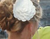 Raw Silk Noil White Hair Accessory