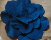 Dark Blue Raw Silk Flower Hair Clip