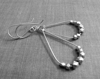 teardrop hoops w/sterling beads