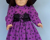 Glittery Black Cat Witch Costume with Hat and Pumpkin  Basket for American Girl Dolls