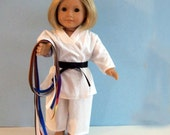 White Karate Uniform with 9 Belts - 18 Inch Doll Clothes