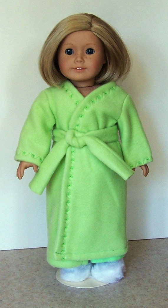 American Girl Doll Clothes - Apple Green Fleece Robe - 18 Inch Doll Clothes