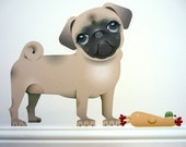 Very Cute and Lovable PUG Dog and Toy Chicken Wall DECALS - stickers - graphics