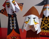 3 Halloween Witches - table decorations to print and make yourself - Barmy Brenda, Rancid Rita and Isolde Mysoul