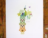 RESERVED for Mgujrati: Pair of Peacocks GICLEE prints