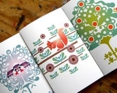 3 Printable Greeting Cards. Choose Your own Designs. Peacock Birds Owl Squirrel Koi Dragonfly Fawn Lovebirds
