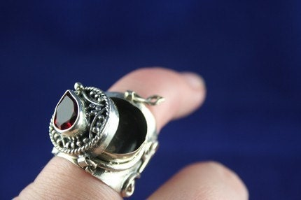 Vintage Ring Sterling Silver Poison Ring With Red Garnet