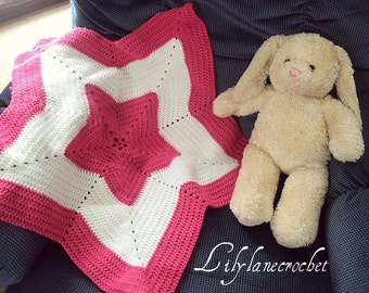 Baby Girl Crochet Tummy Time Star Blanket or Star Area Rug Decor You Choose Your Own Colors