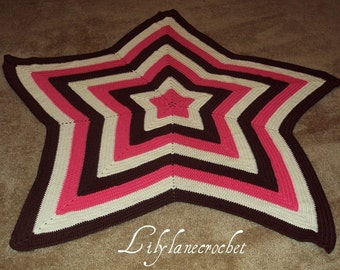Crochet Baby Star Blanket Area Rug Room Decor 4 Ft Across YOU CHOOSE COLOR(S)