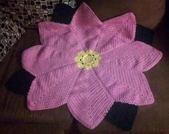 Crochet Flower Shaped Blanket  You Choose Color