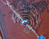 Magical Celtic Snow Moon Sterling Silver Christmas Ornament with Vintage Swarovski Crystal