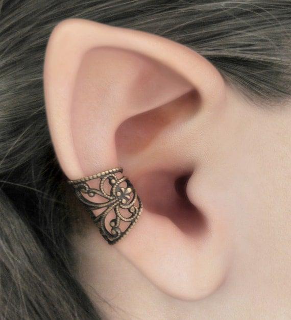 Soft Whispers - Brass Filigree Ear Cuff