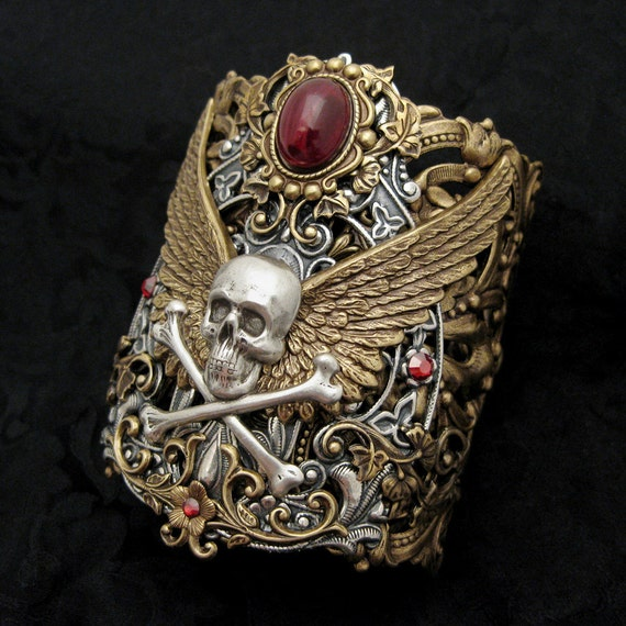 Forbidden Treasure - Blood Red and Mixed Metal Cuff Bracelet