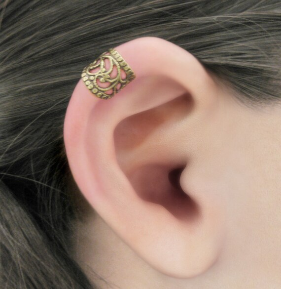 Enraptured I - Upper Helix Brass Filigree Ear Cuff