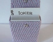 gamers selection, crochet, playing card case, lavender/blue, snap closure, cotton texture, USA seller, handmade,located @cyicrochet.com