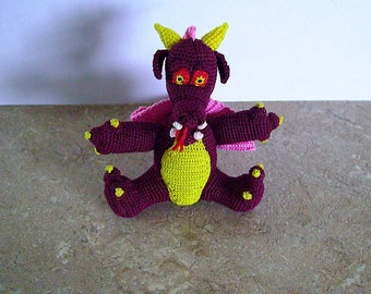 Bonnie's Crochet Cotton Thread Item Mythical Mini Dragon Doll garnet/pink fiery eyes and flicked red tongue Not A toy