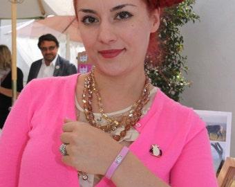 Breast Cancer Awareness Bracelet in soft pink lambskin, sterling silver details, MEDIUM