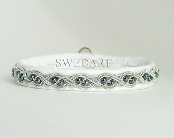"SwedArt B20 Aurora Lapland  Sami Leather Bracelet Pewter Braid Hematite Beads Antler Button 3/8"" Wide White LARGE"