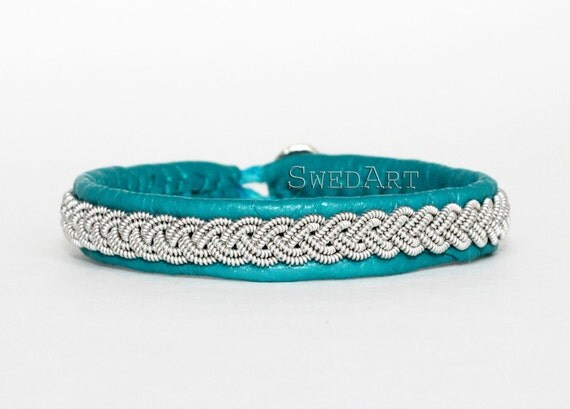 Turquoise SwedArt-Lapland Leather Bracelet-Pewter Braid-Antler Button-XS-B12 Sami