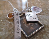 Personalized Hand Stamped Necklace Precious   Treasures  Mixed Metal Collection