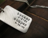 Personalized Hand Stamped Sterling Silver Necklace Dad Tag