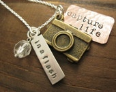 Photographer Inspired Personalized Hand Stamped Mixed Metal  Necklace In a Flash