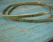 Personalized Brushed Brass Stacking Squre Bangle