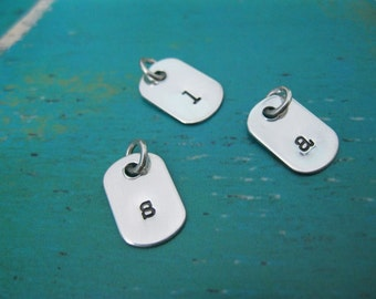Personalized Hand Stamped Sterling Silver Add a tiny Dog  Tag