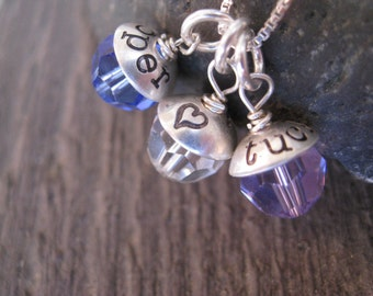 Personalized Hand Stamped Sterling Silver Necklace Birthstone Buttercup