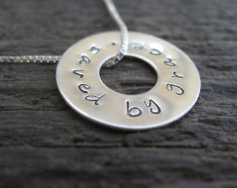 Personalized Hand Stamped Sterling Silver Necklace Sterling Circle Slide