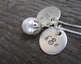 Personalized Hand Stamped Sterling Silver Necklace Monogram Minis