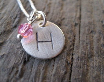 Personalized Hand Stamped Sterling Silver  Simple Initial Necklace (pearl or crystal)
