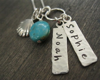 Beach Inspired Personalized Hand Stamped Sterling Silver Necklace Beach Babies