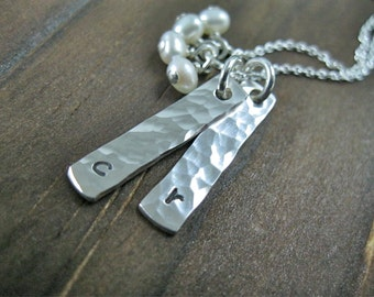 Sterling Silver Necklace Pearly Bars Inital Necklace
