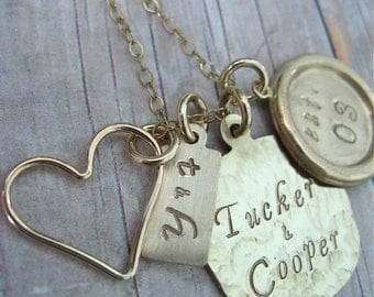 Hand Stamped Gold Filled Necklace Charmed Family