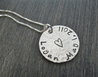Sterling Silver Disc Mothers Necklace  Hand Stamped Personalized