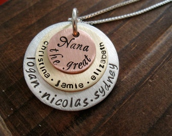 Mixed Metal Copper On Top Triple Stack Personalized Necklace