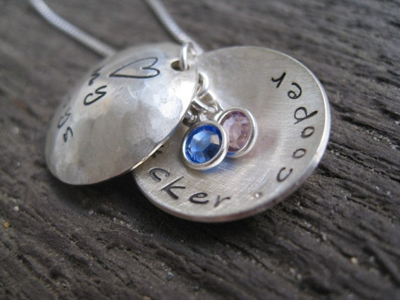 Personalized Hand Stamped Sterling Silver Necklace Curved Couplet