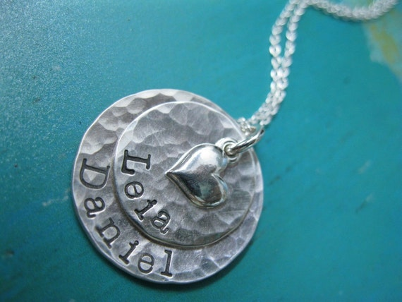Personalized Hand Stamped Sterling Silver Necklace Loving Layers