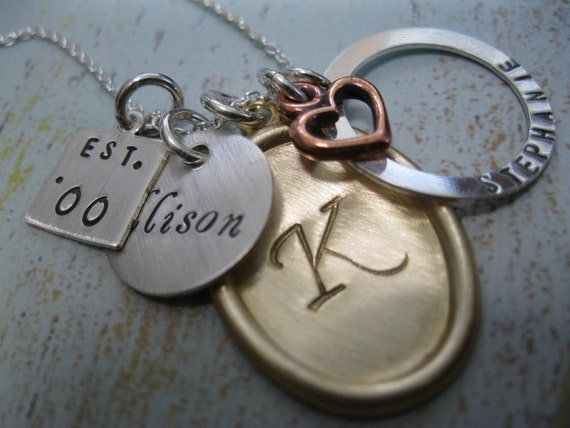 Family Charms Mixed Metal Collection Hand Stamped Mommy Jewelry