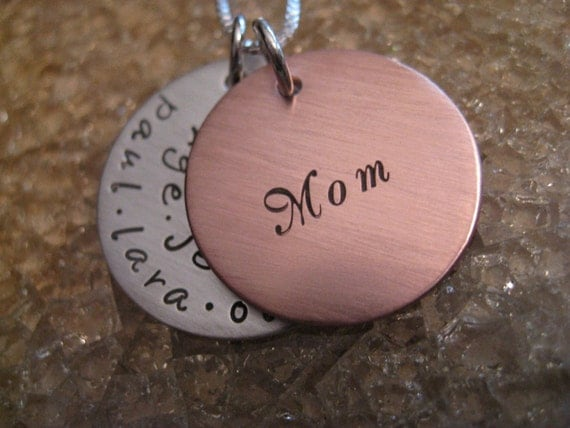 Personalized Hand Stamped Necklace Brushed Swirling Delight Mixed Metal Collection
