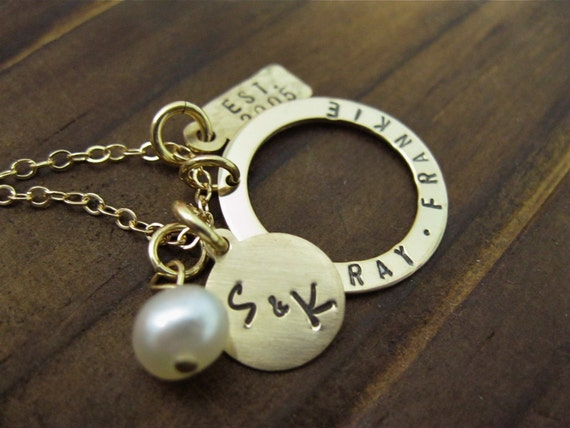 Gold Filled Hand Stamped Necklace Simply Charming Family Charm Necklace