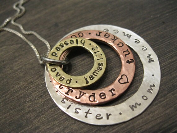 3 Ring Mixed Metal Personalized Mommy Necklace