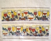 Natural Flour Sack Towels Tuscan Wine Tasting set of 2