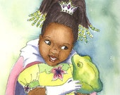 African American Princess and the Frog with braids 8x10 Print